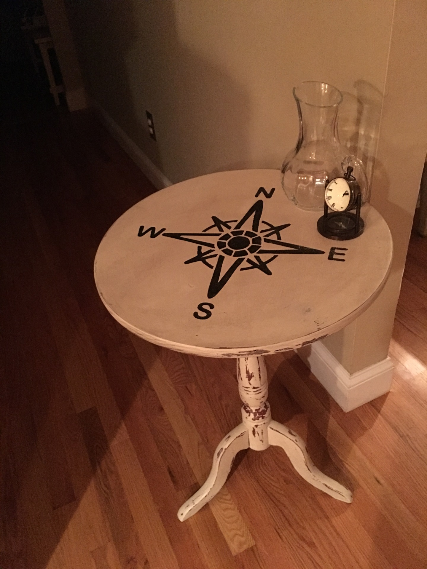 Antique Table with Compass  - Chippy Finish