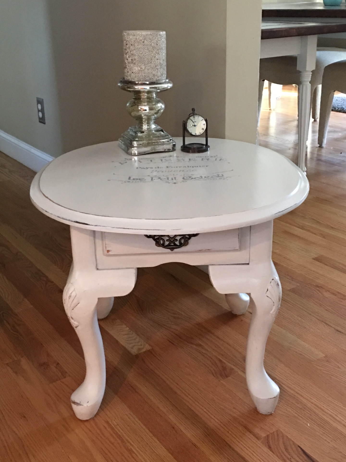 Small Side Table with French Script
