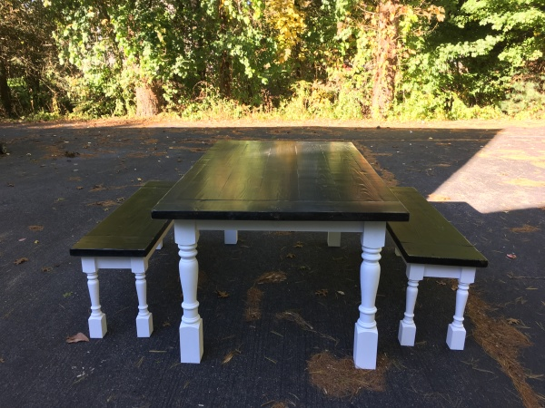 Custom Farmhouse Table with 2 benches